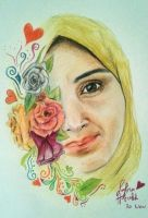 My aunt, Faber Castell color pencil. by SalmaHSaleh