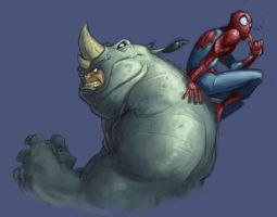 Rhino vs. Spider-man by Frigid-Studios