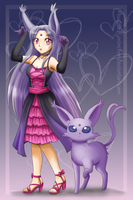 Akemi and Espeon (Digital) by AustriaKaninchen