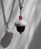 Choccolate muffin glass charm with silver clasp by fairyfrog