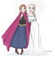 Anna and Elsa by Amai-Kitty