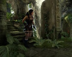 Lara down the stairs by MoonchildLuiza
