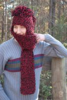 Maroon and black double yarn mohawk hat scarf by LilithsSmile