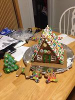 Our Custom Made Gingerbread House, Tree, And Folks by derekcaldera