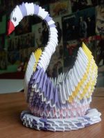 Origami 3D:White swan with wings by faviandarts