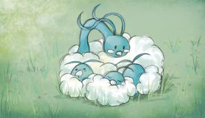Altaria and Swablu by laurafufu
