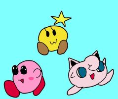 Kirby, Jigglypuff and Sarlow by albert99