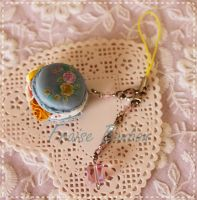 Rococo Vintage Pastel Blue Resin Macaroon n Roses by Fraise-Bonbon