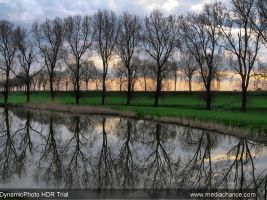 sunrise behind the dike HDR by schaduwvacht