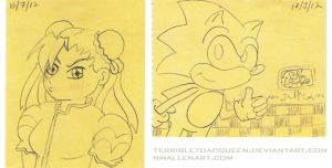 Daily Doodles: Sonic and Chunli by TerribleToadQueen