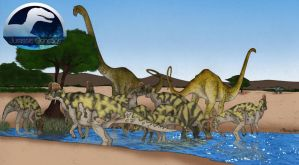 JG - Corythosaurus Mamenchisaurus by March90