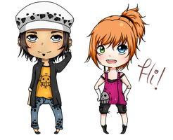 Comision (Law and kisa ) chibis by OkamyKina