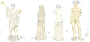 APH: Greek Statues by Lady-Cheshire