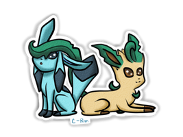 Leafeon and Glaceon by Cora-Rosemountain