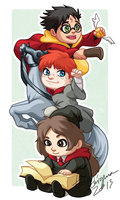 Chibi Golden Trio badge by TwinEnigma