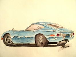 Toyota 2000GT Drawing by prestonthecarartist