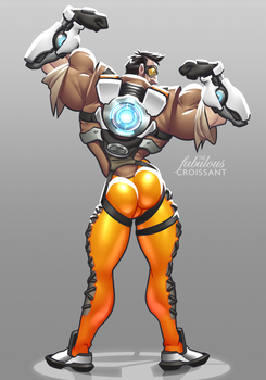 Overwatch: Tracer Genderbend Butt Shot by TheFabulousCroissant