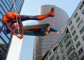 Spidey and Superman chase by stick-man-11