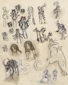 Sketchdump : Birbs and Monsters by karimuffin