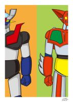 Mazinger Z and Getter 1 by y-nrmt