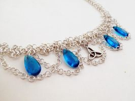 Blue Glass Bead Chainmail Headband/Necklace by FaerieForgeDesign