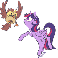 An Alicorn and her Owlicorn by ponywise