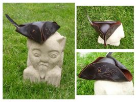 Leather Steampunk Mini Tricorn/Pirate Hat by emma-hobbit