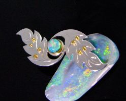 Crystal Opal Leaf Brooch by jessa1155