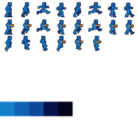 Blue Robot Player Sprite by JohnColburn