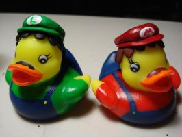 Mario and Luigi ducks by spongekitty