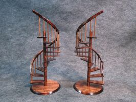 Miniature Spiral Staircase in Mahogany finish by scalecreations1