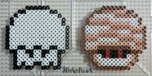 Ghost and Mummy Mushrooms by PerlerPixie