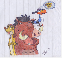 Timon and Puumba by SkyeHeaven