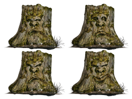 Tree Stump Spooky Face 02 PNG Stock by Roy3D