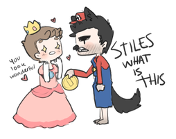 Sterek - Mario and Peach by mai-mind-freak