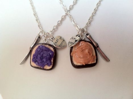 Peanut Butter and Jelly Best Friend Necklaces by lessthan3chrissy