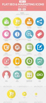Flat SEO and Marketing Icons Pack 1 by sktdesigns