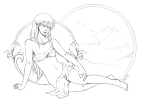 elven pin-up - lineart by puppetka