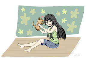 Request - Mio and a dog by eushi