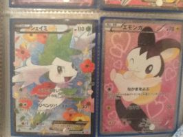 Pokemon shiny collection cards - shaymin and emolg by alucardserasfangirl