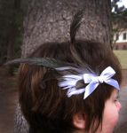 Black and white feather fascinator by Animus-Panthera