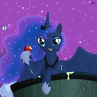 Luna likes apples by NightGreenMagician