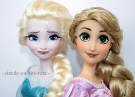 Disney Rapunzel and Elsa Doll Repaint by claude-on-the-road