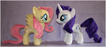 Fluttershy and Rarity by mamaapple