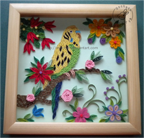 Quilling - christmas budgerigar by Eti-chan