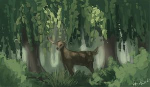 Speedpaint: Stag in the Forest by Hirahime