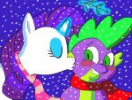 Rarity and Spike Under the Mistletoe by SteGhost