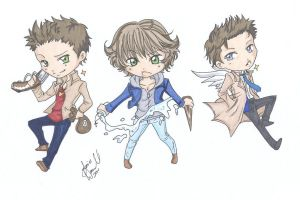 Supernatural Chibi Trio by AnimeJanice