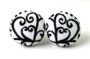 Stud earrings heart Valentine's day black white by KooKooCraft