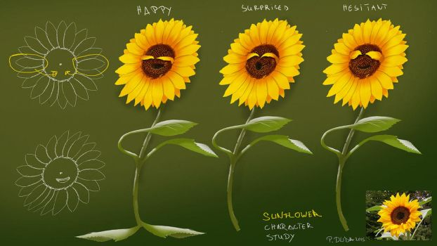 Sunflower character design study by przemek-duda